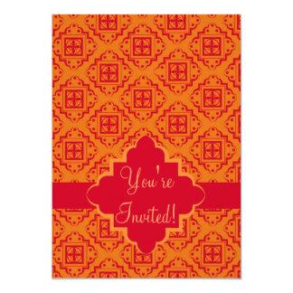 Red & Orange Arabesque Moroccan Graphic Custom Invitations