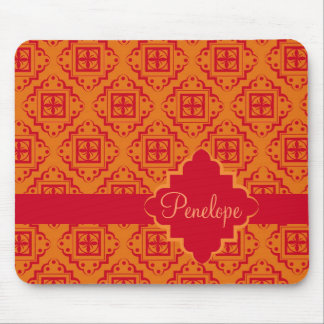Red Orange Arabesque Moroccan Graphic Mouse Pad