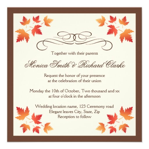 Red Orange Autumn Leaves Elegant Fall Wedding 525x525 Square Paper Invitation Card