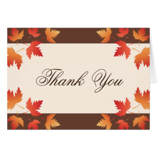 Red orange autumn leaves thank you card