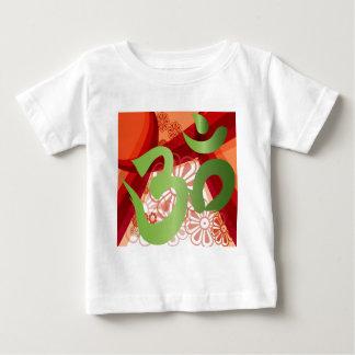 Red-Orange-Bg_Green-Om Baby T-Shirt