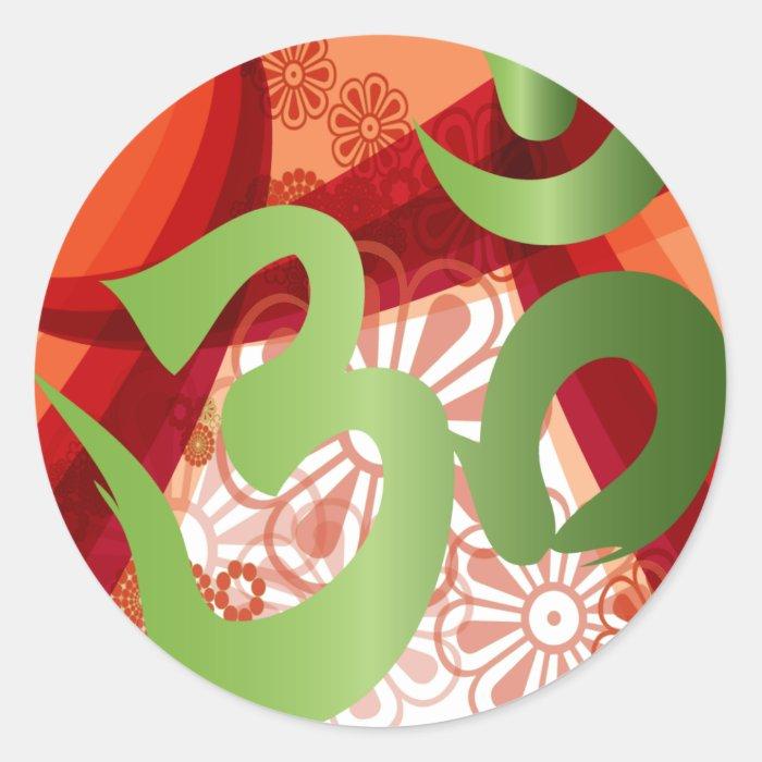 Red-Orange-Bg_Green-Om Classic Round Sticker