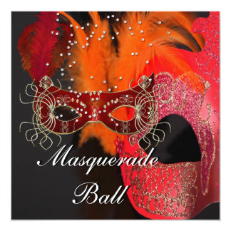 Red Orange Black Masks Masquerade Ball Party Card