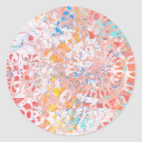 Red Orange Blue Abstract Floral Design Classic Round Sticker