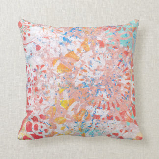 Red Orange Blue Abstract Floral Handmade Design Pillow