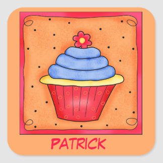 Red Orange Blue Birthday Cupcake with Flower Square Sticker