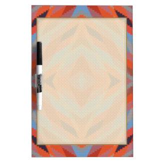 Red Orange Blue Geometric Knitted Look Dry-Erase Board