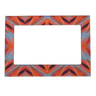 Red Orange Blue Geometric Knitted Look Magnetic Picture Frame