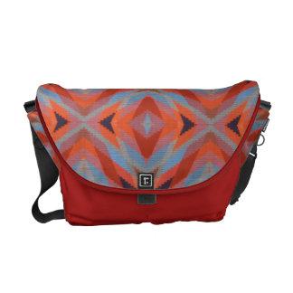 Red Orange Blue Geometric Knitted Look Messenger Bag