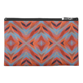 Red Orange Blue Geometric Knitted Look Travel Accessories Bags