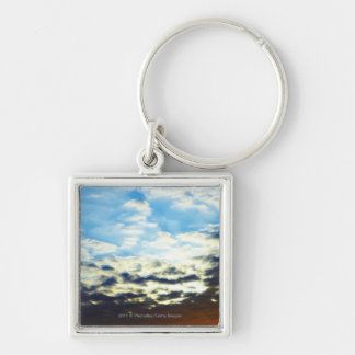 Red Orange Blue Sunset with Clouds Keychain