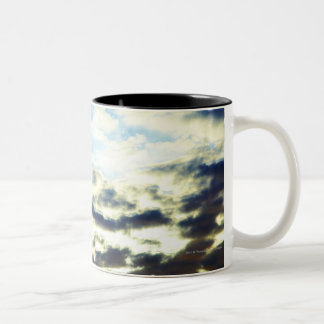 Red Orange Blue Sunset with Clouds Two-Tone Coffee Mug