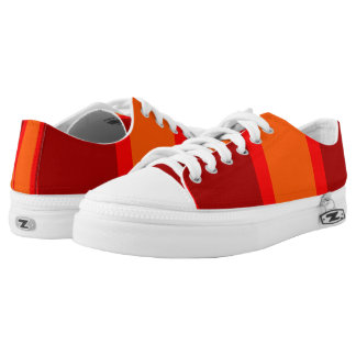 Red Orange Bold Stripes Printed Shoes