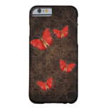 Red Orange butterflies on Brown Damask iPhone 6 ca Barely There iPhone 6 Case