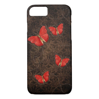Red Orange butterflies on Brown Damask iPhone 7 ca iPhone 8/7 Case