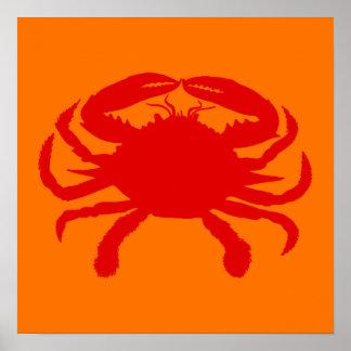 Red Orange Crab Poster