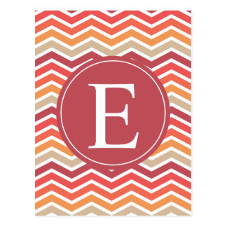 Red Orange Cream Chevron Monogram Postcard