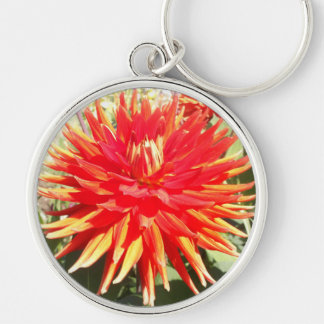 Red Orange Dahlia Flower in the Sunshine Silver-Colored Round Keychain