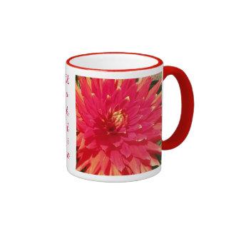 Red Orange Dahlia Flower Ringer Mug