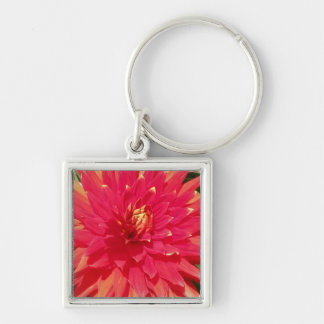 Red Orange Dahlia Flower Silver-Colored Square Keychain