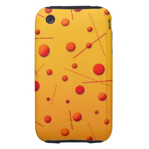 Red Orange Dots and Lines Fun Pattern Art Tough iPhone 3 Covers
