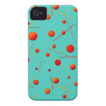 Red Orange Dots and Lines Fun Pattern Art Case-Mate iPhone 4 Cases