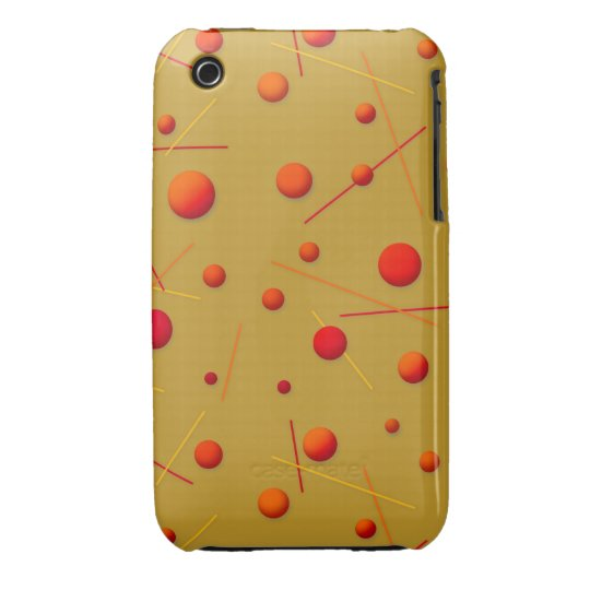 Red Orange Dots and Lines Fun Pattern Art iPhone 3 Cover
