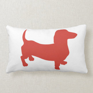 Red Orange Doxie Throw Pillow