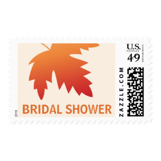 Red orange fall autumn leaf on cream bridal shower postage