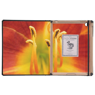 Red orange flaming lily macro photo iPad folio cases