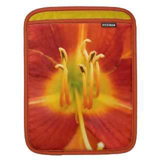 Red orange flaming lily macro photo sleeve for iPads