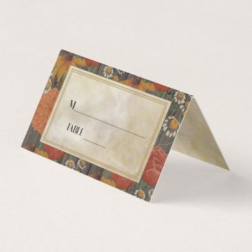 Wedding Themed Red Orange Floral Cream and Rustic Brown Wood Place Card