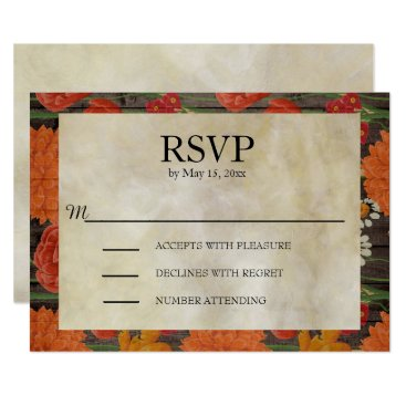 Wedding Themed Red Orange Floral Dark Brown Rustic Wood RSVP Card