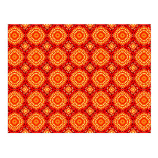 Red Orange Floral Octagon and Diamonds Pattern Postcard