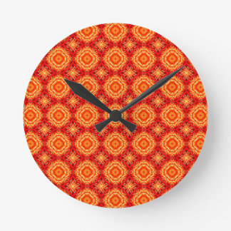 Red Orange Floral Octagon and Diamonds Pattern Round Clock