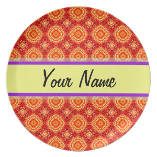 Red Orange Floral Octagon Diamonds Personalized Party Plate