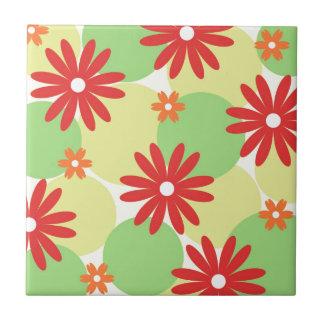Red orange floral on green tile