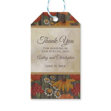 Wedding Themed Red Orange Floral on Rustic Brown Wood Gift Tags