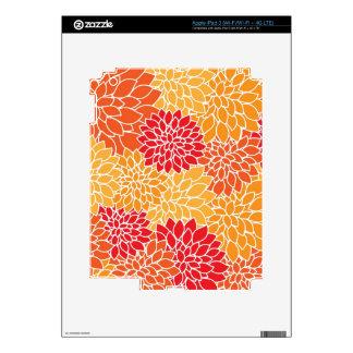 Red/Orange Floral Pattern iPad 3 Protection Skin