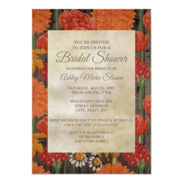 Wedding Themed Red Orange Floral Rustic Dark Brown Wood Bridal Card