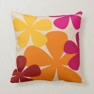 Red & Orange Flowery Throw Pillow