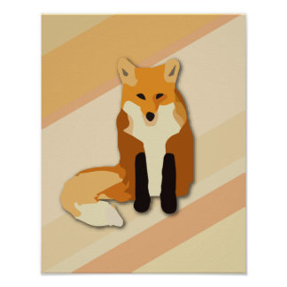 Red Orange Fox Poster