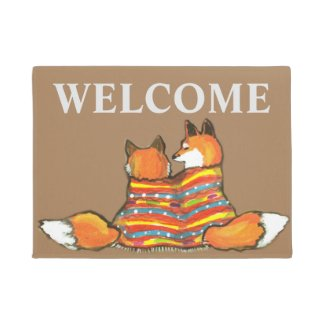Red Orange Fox Romantic Friend Welcome Custom Doormat