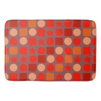 Red-Orange Geometric on Bath Mat