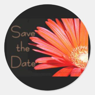 Red Orange Gerbera Daisy Save the date Stickers