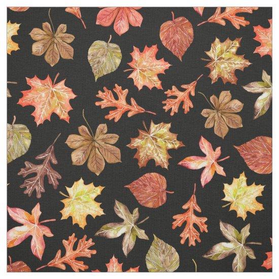 red orange gold autumn leaves pattern on black fabric