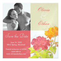 Red, Orange, Green Floral Photo Save the Date Personalized Invitations
