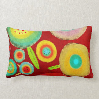 Red Orange Happy Flowers Summer Homedecor Lumbar Pillow