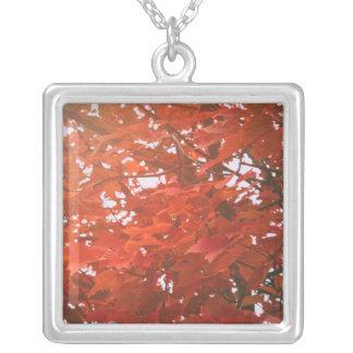 Red-Orange Leaves Square Pendant Necklace