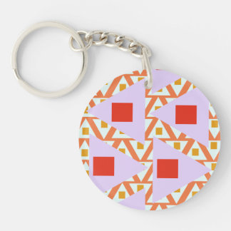 red orange light orchid mixed triangles keychain